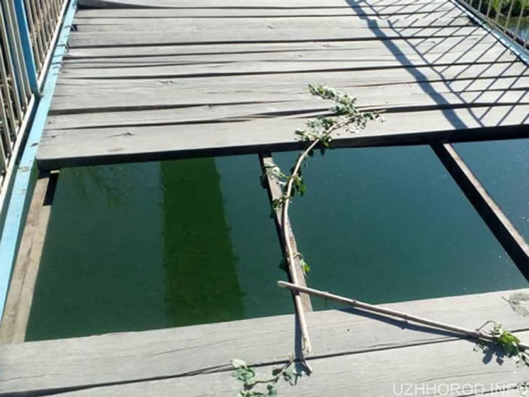 невідомі потрощили дерев'яний міст біля стадіону Авангард фото