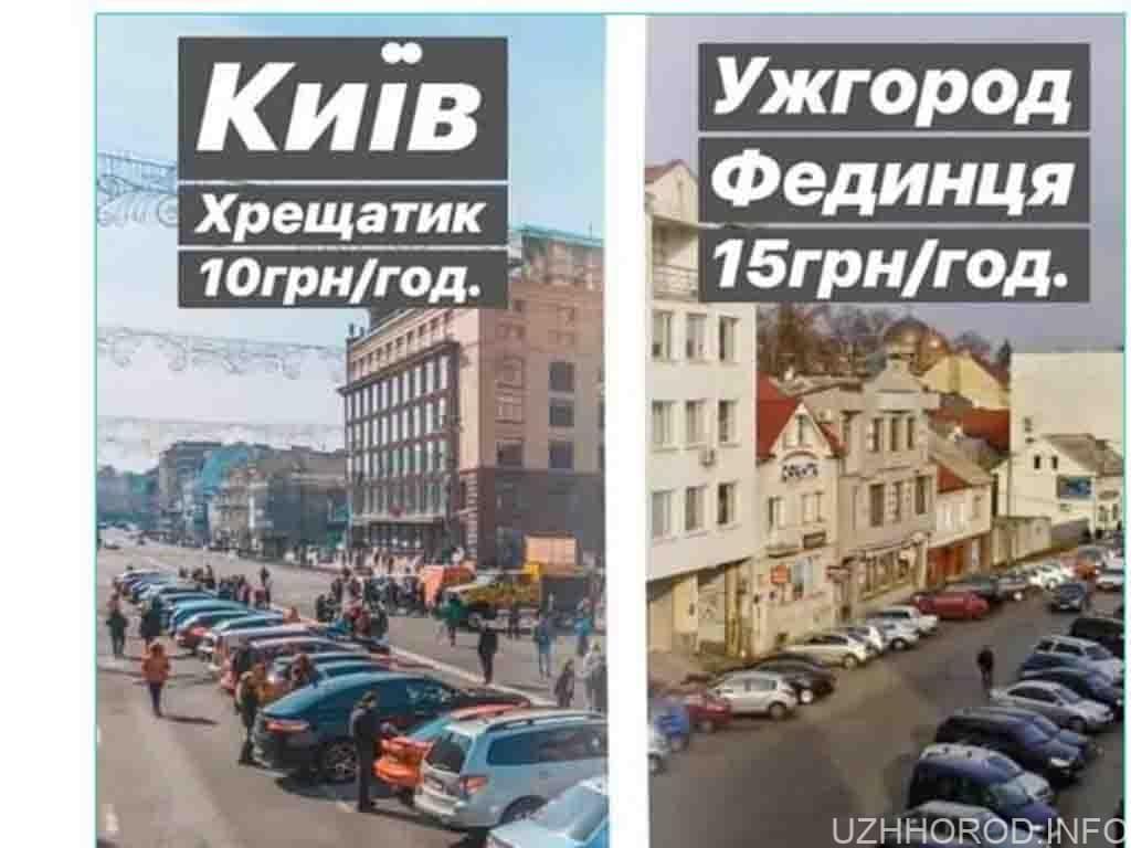 Платне паркування в центрі Ужгорода фото