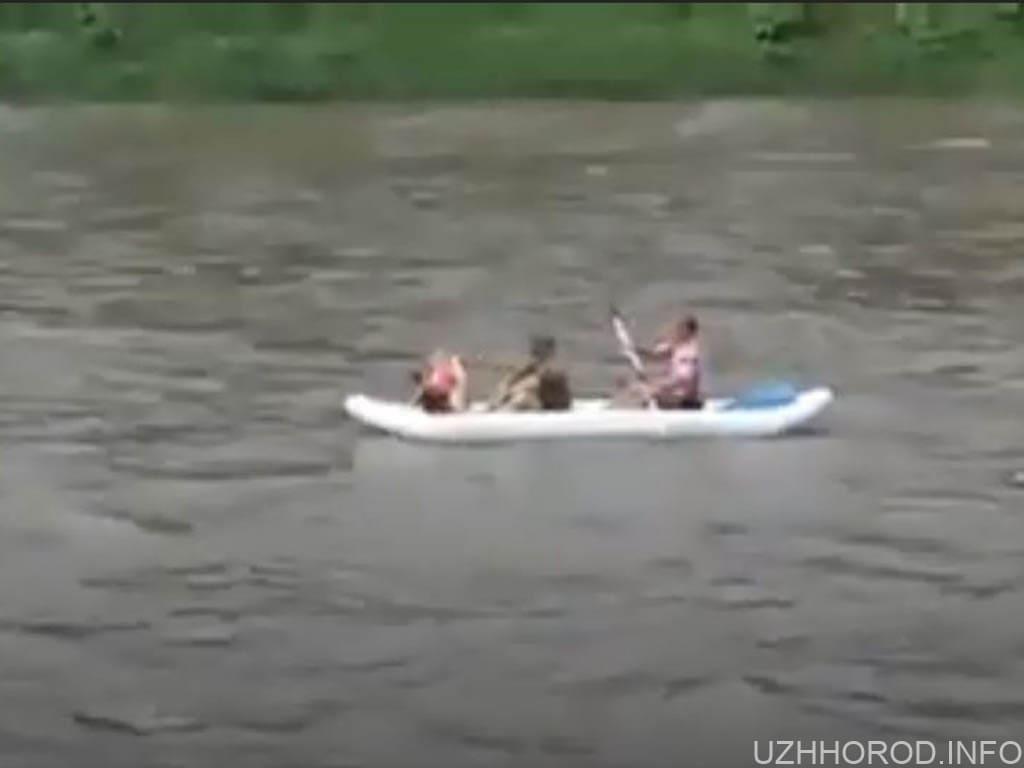 В Ужгороді річкою плавають на човнах фото