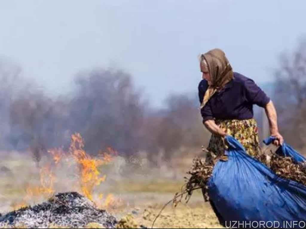 пожежа спалювання трави жінка
